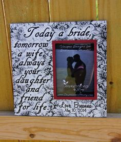 Mother of the Bride Wedding Picture Frame, Today a Bride, Tomorrow a wife, B&W Damask, Personalize it -- by ImpressionsByMisty, $40.00