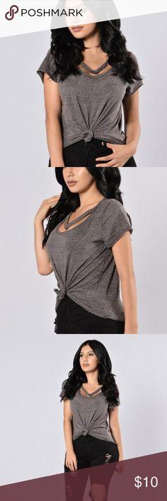 392f7456254 FASHION NOVA CHARCOAL GREY MADDY TOP NWOT Charcoal grey loose fitting top  from Fashion Nova.