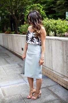 Palm Tree Cami + Power Blue Pencil Skirt
