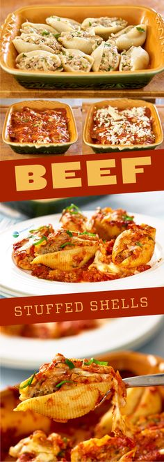 Beef Stuffed Shells Beef stuffed inside large pasta shells topped with gooey cheese then baked to perfection. Make-ahead and it's freezer friendly, meat stuffed shells without ricotta. Stuffed Shells With Meat, Stuffed Shells Recipe, Stuffed Pasta Shells, Casserole Recipes, Meat Recipes, Pasta Recipes, Baking Recipes, Pasta Meals, Rice Recipes