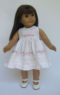 "American Girl 18"" Doll Heirloom style dress with pin tucks, machine embroidery  and lace. Inspiration."