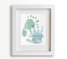 Personalized Hand And Foot Print 8x10 - New Dad, Fathers Day, Personalized Fathers Gift, Children Decor, New Baby, Baptism, Baby Shower. $39.95, via Etsy.