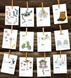 Illustrated 2015 Wall Calendar | Gorgeously illustrated, this wall calendar has a season-specif... | Calendars, Organizers & Planners