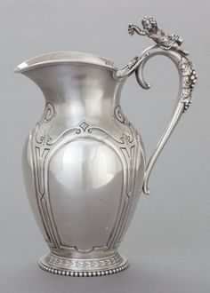 Silver Water, Water Pitchers, Antique Silver, Tea Cups, Auction, Bronze, Ceramics, Antiques, Metal