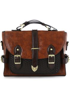 Belted Handle Satchel Bag in Brown - New Arrivals - Retro, Indie and Unique Fashion