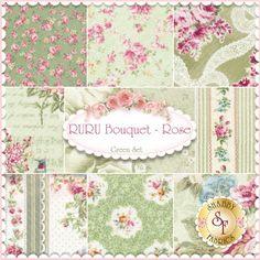 "RURU Bouquet 10 FQ Set - Green By Quilt Gate Fabrics: RURU Bouquet is a floral collection by Quilt Gate Fabrics. 100% Cotton. This set contains 10 fat quarters, each measuring approximately 18"" x 21""."
