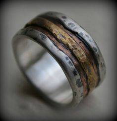 mens wedding band  rustic fine silver copper and by MaggiDesigns, $325.00