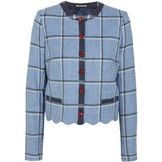 House of Holland Coco checked wool jacket (3.397.140 IDR) ❤ liked on Polyvore featuring outerwear, jackets, blue, blue wool jacket, house of holland, woolen jacket, blue jackets and checkered jacket