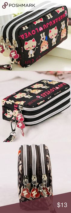 Cute Fashion Wristlet Brand new in retail packaging. This cute wristlet has three compartments with zippers. You can store your iPhone, money, credit cards and other small items! Bags Clutches & Wristlets