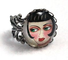 Silver Ring Art Deco Filigree Ring Cocktail Ring by maryannfarley 1920s Art Deco, Creative Artwork, Filigree Ring, Jewelery, Jewelry Box, Art Girl, Art Nouveau, Silver Rings, Bronze