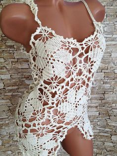 Sexy lace top/ Crochet Top/ Boho Chick Cream Crochet Top/