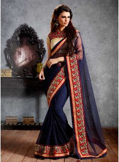 Fancy Royal Blue Foil Work Heavy Embroidery Border Work Saree. Pair With Matching Blouse.  http://www.angelnx.com/Sarees/