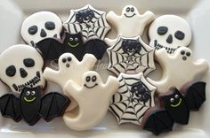 Halloween Cookies~                      by SugaredHeartsBakery, white ghost, black bat, spider and web, skull