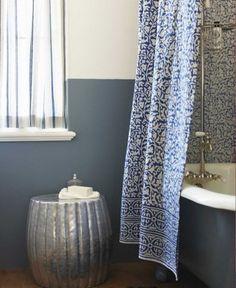 indigo shower curtain     $55.00