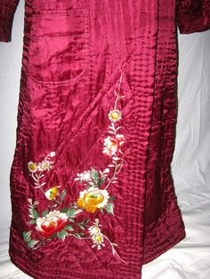 Antique robe ruby red silk RARE hand by vintageboxofdelights