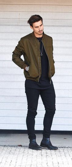 c58ac978e9528 390 Best Green Bomber Jacket images in 2019 | Man fashion, Casual ...