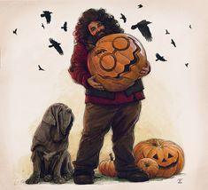 Harry Potter Fan Art, Harry Potter Fandom, Harry Potter Characters, Rubeus Hagrid, Fantastic Beasts, Happy Halloween, Hogwarts, Concept Art, Illustration