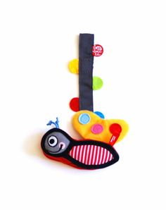 Pacifier holder grey + toy