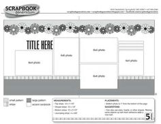 2 page Scrapbooking Layout Sketch. This would be suitable for any theme. 2 page 12 x 12 scrapbook layouts. The scrapbooking sketch books each have 30 double-page sketches.