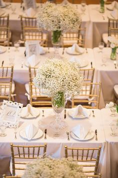 These lush baby's breath centrepieces look lavish and elegant paired with the gold chairs and white table settings.     Image via  Clarabelle.