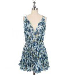 Cecico Ruffled Floral Dress with Waist Strap in Blue - size M