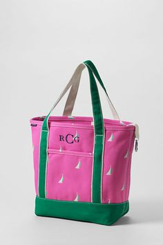 Fandango Pink Sailboats Medium Open Top Tote from Lands' End