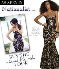 Camille La vie Satin Animal Print Prom Dress featured in the Nationalist Magazine and modeled by Janel Parrish of Pretty Little Liars