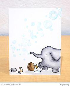Ella and Friends is a super playful clear stamp set. We've given Ella plenty of little friends to keep her happy. Mama Elephant Stamps, Baby Mine, Elephant Design, Animal Cards, Card Making Inspiration, Cute Cards, Greeting Cards Handmade, Homemade Cards, I Card
