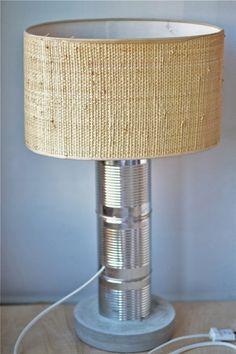 oro y menta diy lampara con latas recicladas y cemento