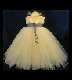 I think I could make this!  What do you think Kelcie? Grey Yellow Flower Girl Dress by StrawberrieRose on Etsy, $79.95
