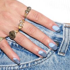 """Alicia Torello on Instagram: """"Blue and grey swoops using @essiepolish in 'Petal Pushers' and 'Salt Water Happy'"""""""
