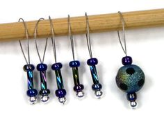 Beaded Stitch Markers Snag Free Iridescent Snagless by TJBdesigns