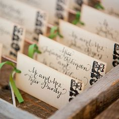 Vintage, hand-painted green and brown wedding escort cards (Melissa Musgrove Photography)
