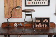 Vintage Industrial Toledo UHL Early Draftsman Stool w/ Wood Seat  ca. 1930s