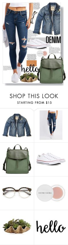"""""""distresseddenim"""" by shormi ❤ liked on Polyvore featuring Hollister Co., Vanity Fair, Cello, Skagen, Converse, Herbivore and distresseddenim"""