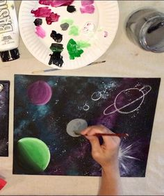 Galaxy Painting - Step By Step Acrylic Painting Tutorial Galaxy Painting Acrylic, Acrylic Painting Tutorials, Planet Painting, Galaxy Background, Space Painting, Step By Step Painting, Beginner Painting, Art Party, Learn To Paint