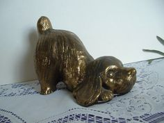 Vintage Playful heavy cast metal puppy nicely by spinnakerhillfarm, $25.00