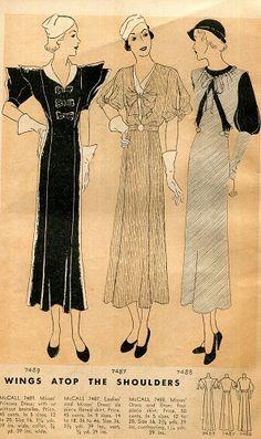 McCall Style News, September 1933 featuring McCall 7489 (Princess Dress), 7487 (Dress) and 7488 (Dress & Eton)