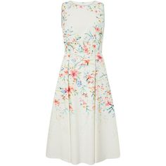 Monsoon Arianna Floral Print Prom Dress (2.556.675 IDR) ❤ liked on Polyvore featuring dresses, fit and flare cocktail dress, white fit-and-flare dresses, evening dresses, white dress and fit and flare dress