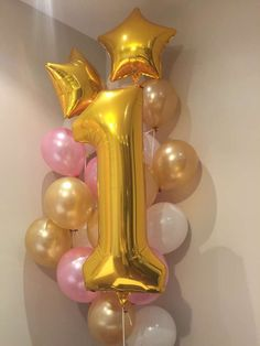 Amazing balloons at a pink and gold birthday party! See more party ideas at CatchMyParty.com! #HighChair