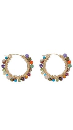 Multi-colored stone hoop earrings.