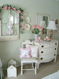 I love vintage furniture and we already have the gray wing back headboard along with shabby chic bedding from Target and window coverings need a new dresser large mirror, shelving. Under bed storage and a desk or vanity with chair Modern Shabby Chic, Shabby Chic Vintage, Shabby Chic Living Room, Shabby Chic Bedrooms, Shabby Chic Kitchen, Bedroom Vintage, Shabby Chic Homes, Shabby Chic Furniture, Vintage Furniture