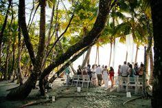 Unique destination wedding ceremony. Big white curtains for arch. March House Wedding in Malpais - Costa Rica Wedding Photography   A Brit & A Blonde. http://abritandablonde.com/2014/03/30/blog/malpais-beach-wedding-at-the-march-house/