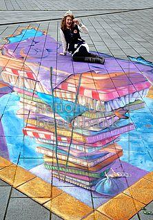 Liz) there's going a street art festival downtown. Street Wall Art, Murals Street Art, Street Art Graffiti, Amazing Street Art, Amazing Art, Awesome, 3d Sidewalk Art, Pavement Art, 3d Chalk Art