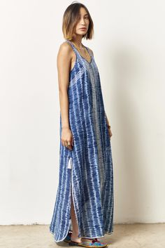 ALI maxi tank dress with divining embroidery SHIBORI