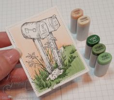 Serendipity Stamps Blog » Tutorials  Love the greens for grass.