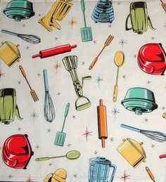 Find This Pin And More On Retro Illustration / Design. Retro Kitchen Print  For Curtains.