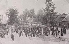 Heeze 1910 Wilhelminaplein met waterstaatskerk op de achtergrond