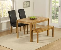Buy the Oxford 120cm Solid Oak Dining Table with Benches and Albany Chairs at Oak Furniture Superstore