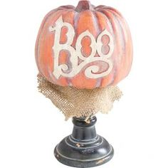 Boo Pumpkin Decor in Orange